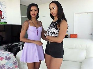 Ebony Girls Sharing One Meat Pole In Arousing Threesome Session